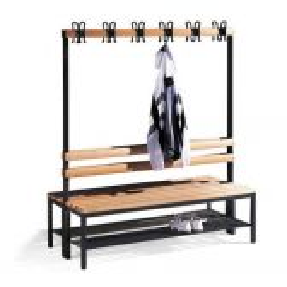 Garderobebank CP Basic Comfort - b100 cm, dubbelzjidig, m. schoenenrooster