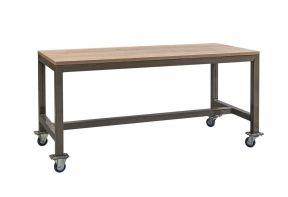 Verrijdbare industriële kantinetafel met transparant gelakt frame en Eiken Nature tafelblad