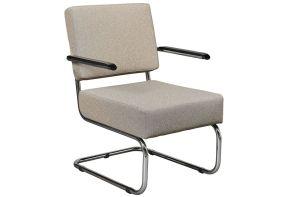 De Valk fauteuil 4415 in lichtgrijs met armleuningen