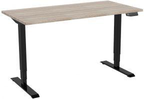 zit-sta bureau met 3 geheugen opties in het zwart met houten werkblad.