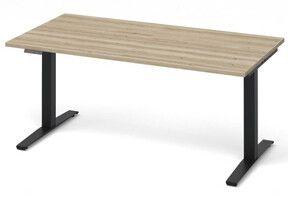 Zit sta bureau Beta AD2-Plus voorzien van moderne bediening. zwart onderstel en houten werkblad.