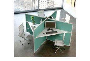 4 callcenter werkplekken Rex 3D silent opstelling groen