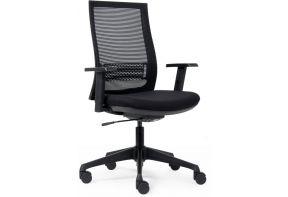 Zwarte bureaustoel met netrug en verstelbare lendesteun