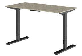 Zwart zit sta bureau met hout bureaublad van Ergonice