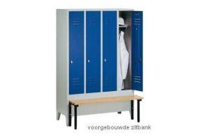 Garderobekast Classic 5.5 met zitbank - blauwe deuren