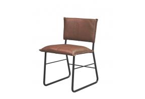 Lederen stoel met frame 10010 in de kleur taupe 23003 met stikwerk nr. 1