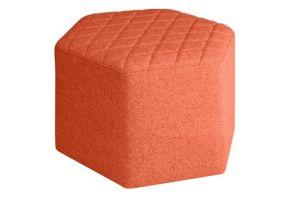 Zeshoekige poef - Oranje/Rood - ruiten
