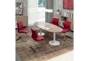 Quadro ovale vergadertafel hout met witte poten